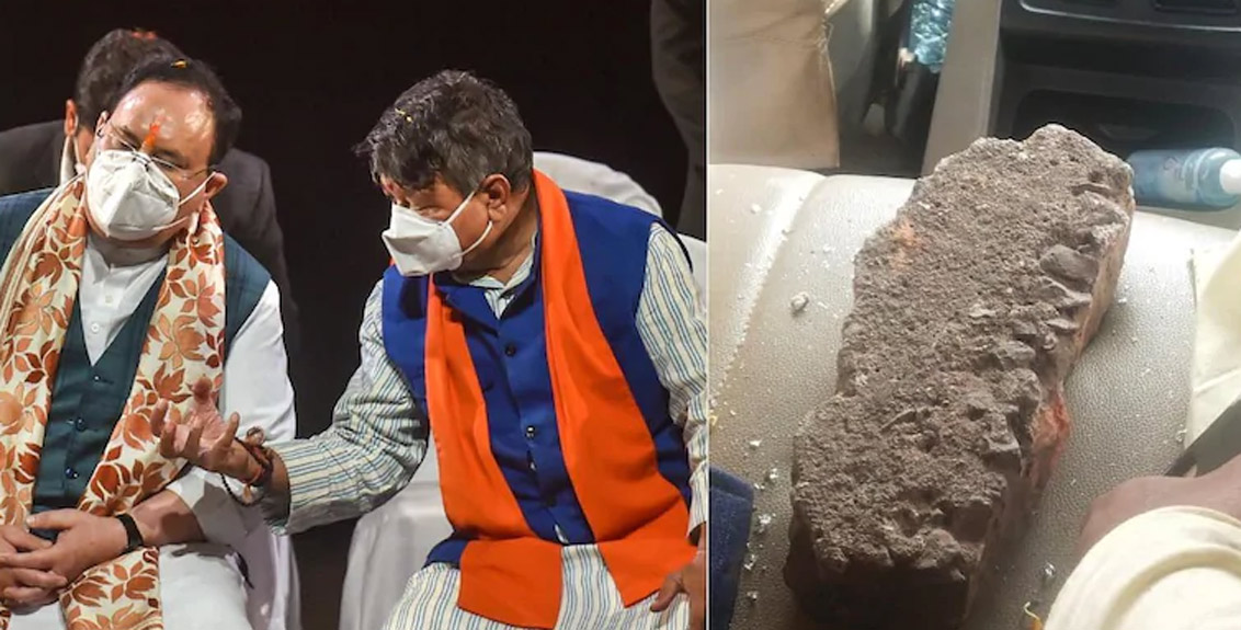 Stone throwing on the convoy of JP Nadda and Kailash Vijayvargiya