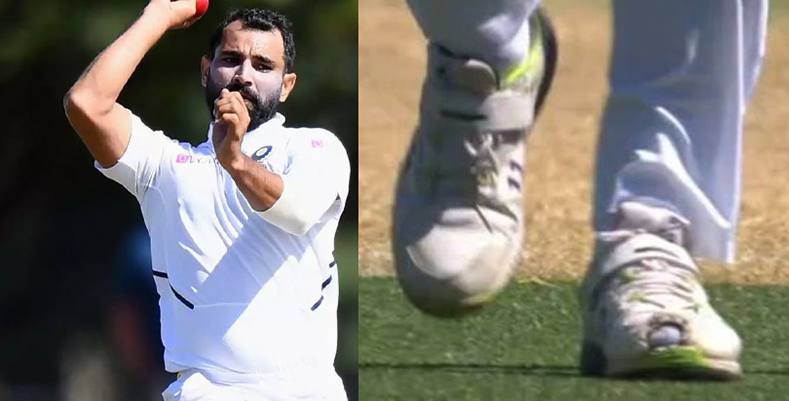 Mohammed Shami is bowling against Australia wearing torn boots