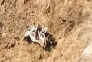 The jeep crashed into a ravine in Toranmal Ghat