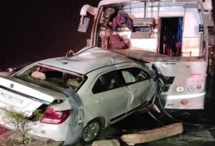 Swift and private bus accident on Nagar-Aurangabad highway