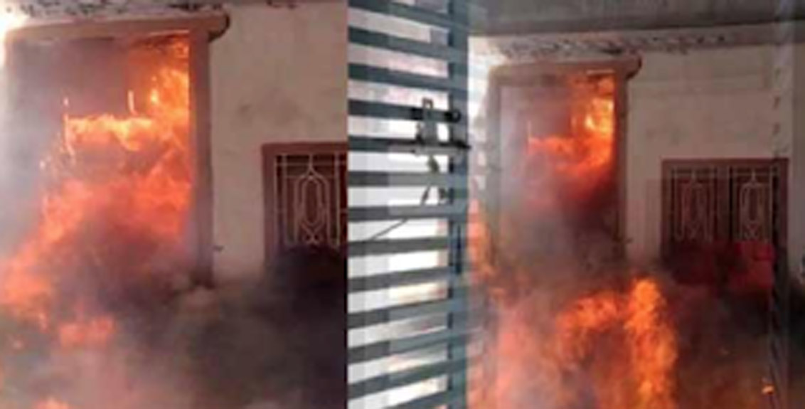 A huge fire broke out at a school at Goulipura in Hyderabad