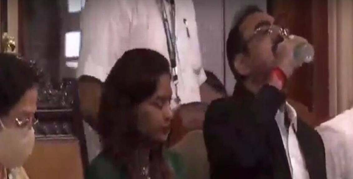 BMC Joint Commissioner Ramesh Pawar drinks sanitizer