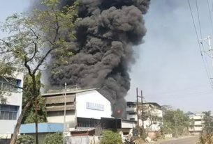 A huge fire broke out in a chemical factory at Taloja MIDC