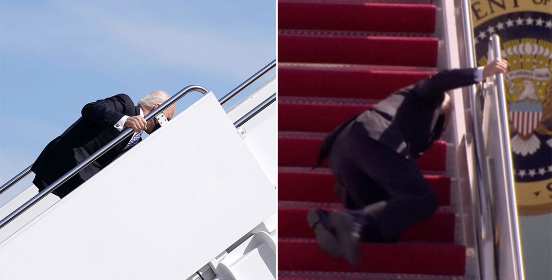 President Joe Biden lost his footing while climbing up the steps to Air Force One