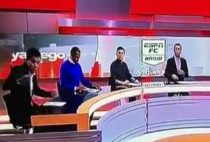 Big TV set fell on a journalist in a live show