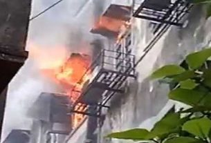 A huge fire broke out in the head office of Punjab National Bank in kolkata