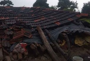 Double crisis in Gadchiroli district 40 to 45 houses collapsed