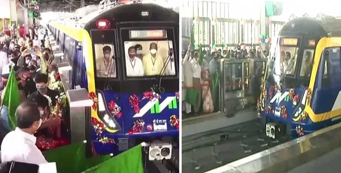 cm uddhav thackeray flag off the trail run of metro on line 2a and line 7