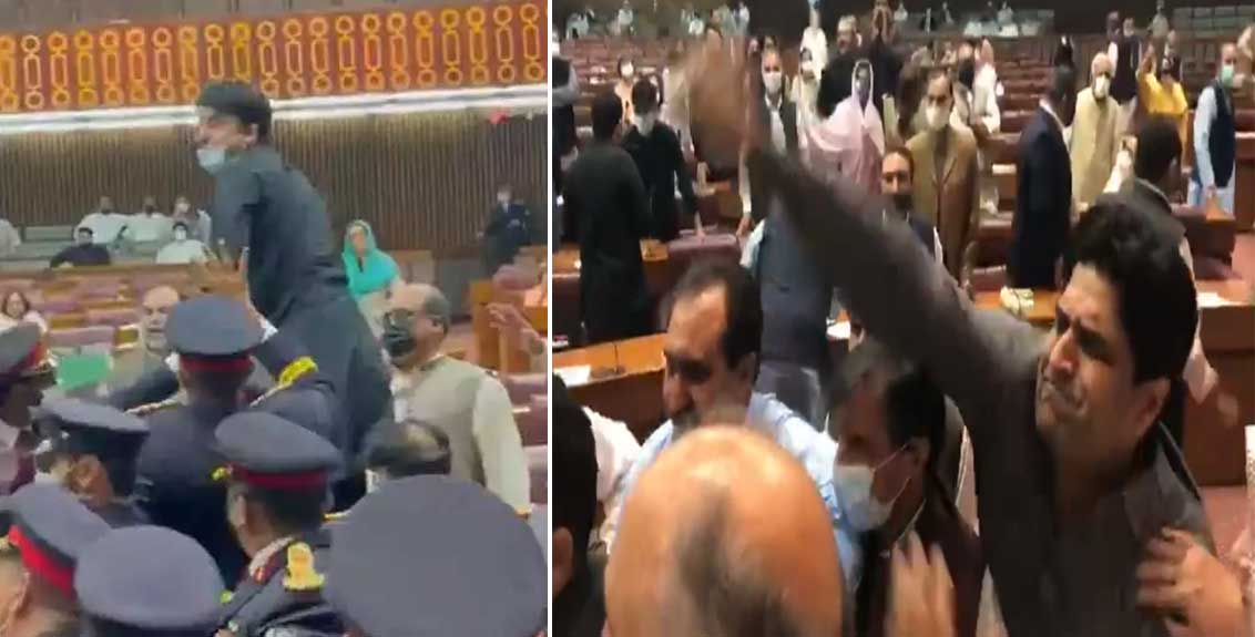 pakistan national assembly descends into chaos as lawmakers hurl objects shout
