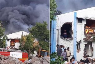 pune sanitizer factory fire accident update 20 workers stuck rescue operation underway