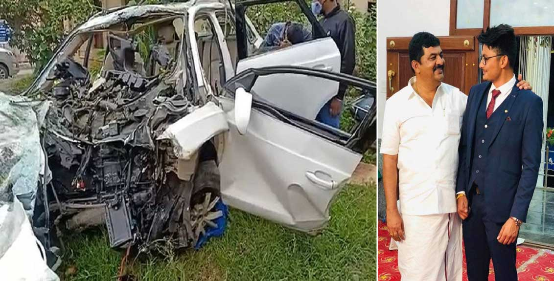 car accident speeding audi collides with electric pole in bengaluru