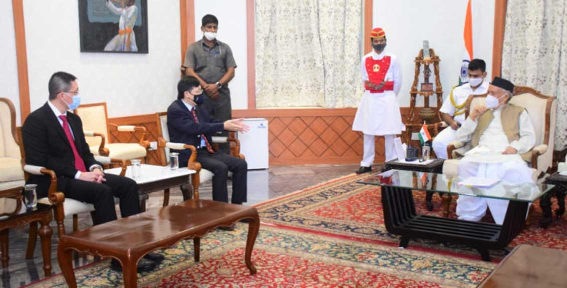 The newly appointed Consul General of Singapore met the Governor Bhagat Singh Koshyari
